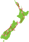 20 Day New Zealand Small Group Tour Auckland to Christchurch Itinerary Map