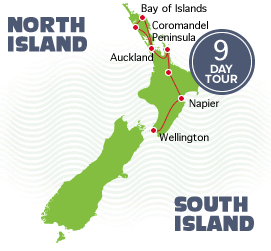 9 Day Pukeko Tour Auckland to Wellington Itinerary Map