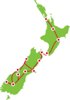 14 Day Auckland to Christchurch Itinerary Map